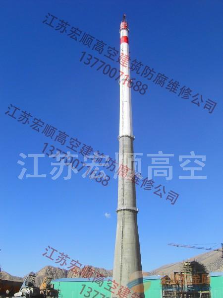 安装砖烟囱避雷针