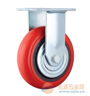 供应8寸红色聚氨酯万向脚轮 重型工业脚轮万向轮