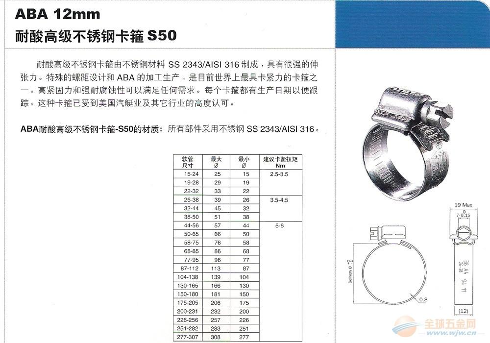 正品/瑞典ABA /S50/316材质耐酸高级不锈钢卡箍/喉码