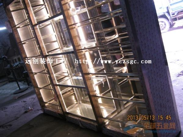 5星级酒店高档不锈钢酒柜厂家订制,带LED灯带不锈钢酒柜专业厂家
