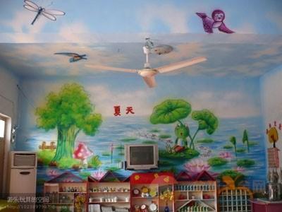 墙体手绘 墙面彩绘 墙体喷绘; 幼儿园环境喷绘环境设计; 河北幼儿园