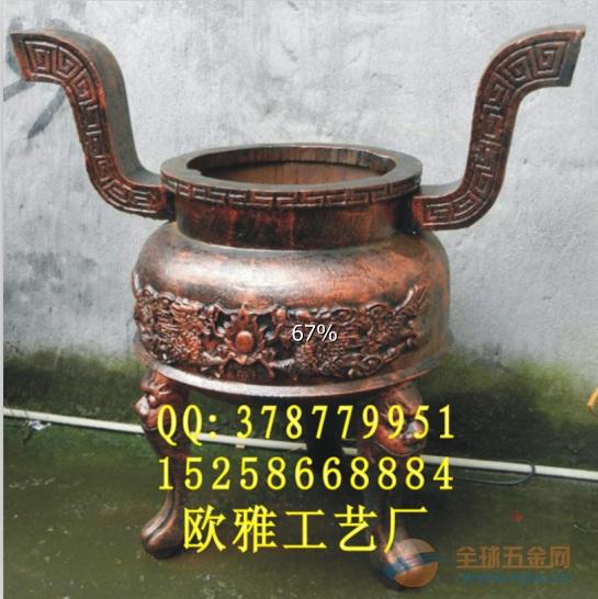 订做圆形六龙柱香炉、订做圆形铜香炉