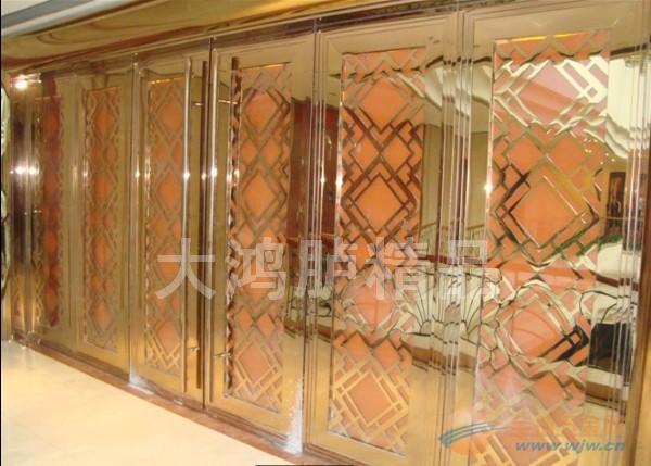 国际新都商场豪华不锈钢钛金玻璃门花激光雕刻精美