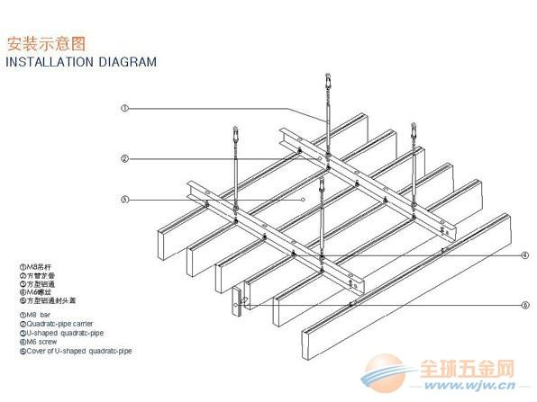 铝方通-铝方通吊顶施工方案--铝天花-全球五金网