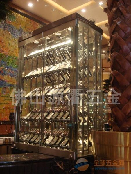 不锈钢整体酒柜 酒吧大堂镜面不锈钢红酒酒柜 酒柜酒架定做