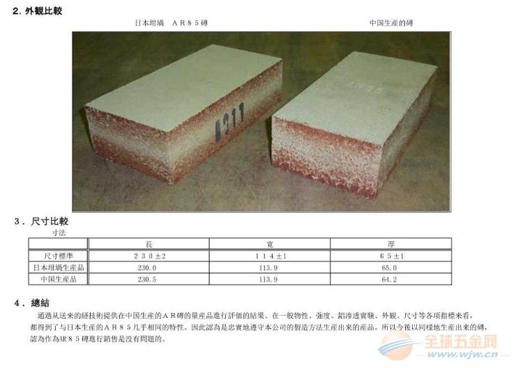 日本坩埚高铝砖中国区总代理