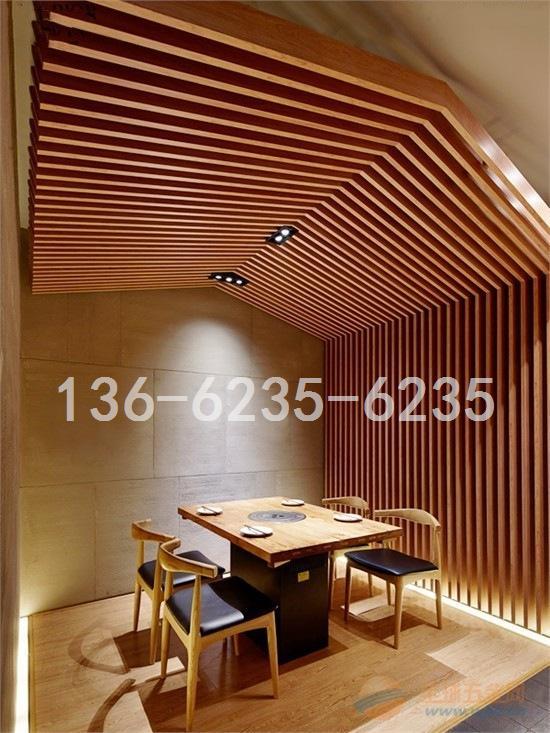 酒店大厅/展厅专用木纹|白色铝方管吊顶