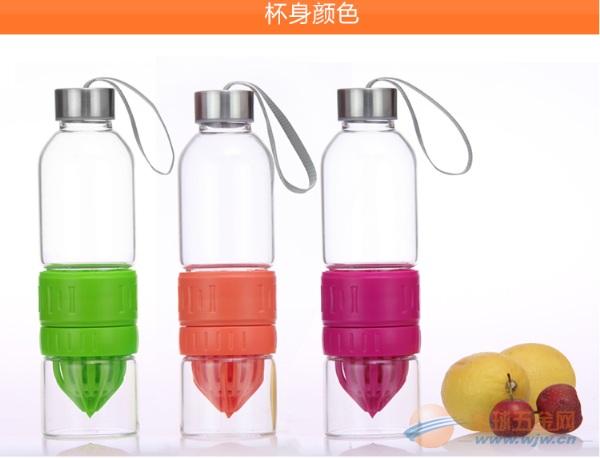 厂家直销韩版玻璃柠檬水瓶/创意便携玻璃手动榨汁水杯子神器批发