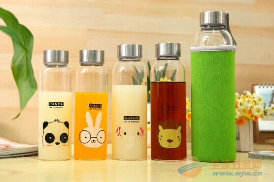 便携创意卡通萌物玻璃水瓶可爱带盖创意耐热运动大容量水瓶 杯子