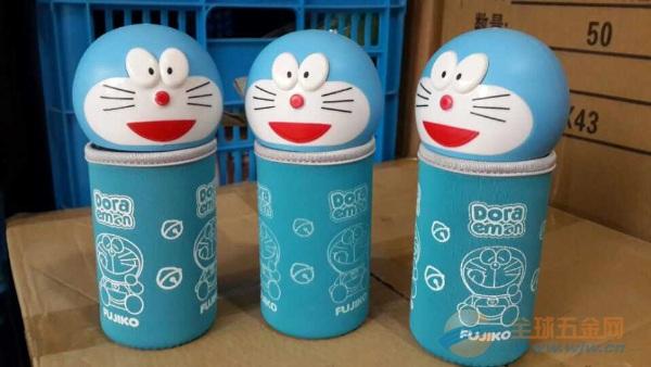 厂家多啦A梦水杯出售叮当猫头玻璃水杯批发