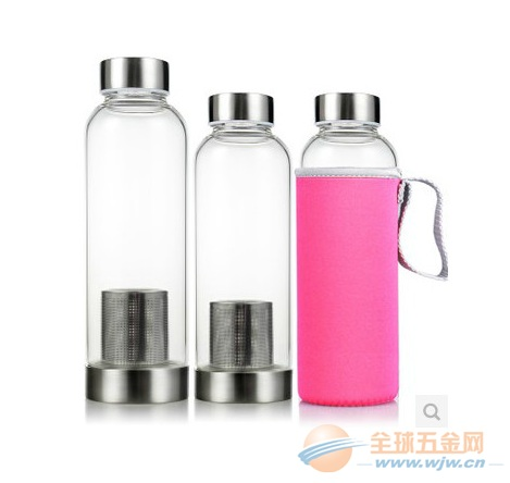 厂家批发透明茶隔玻璃水瓶可定制印字印logo