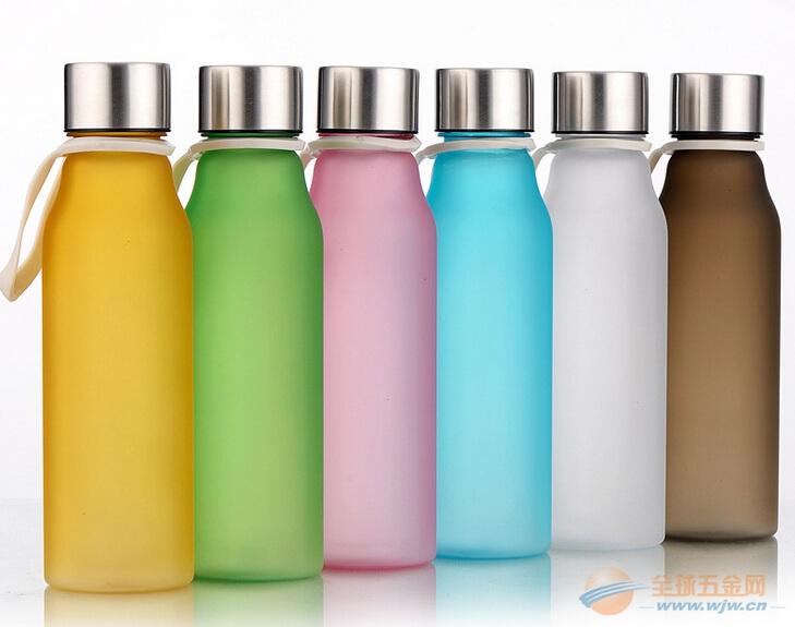 时尚便捷H2O透明直身塑料学生夏季摔不破情侣水杯提绳棒棒杯